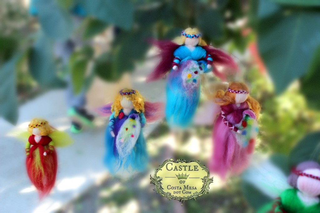 141117 5 pulled wool fairy angel dolls mobiles handmade by craft group this morning.