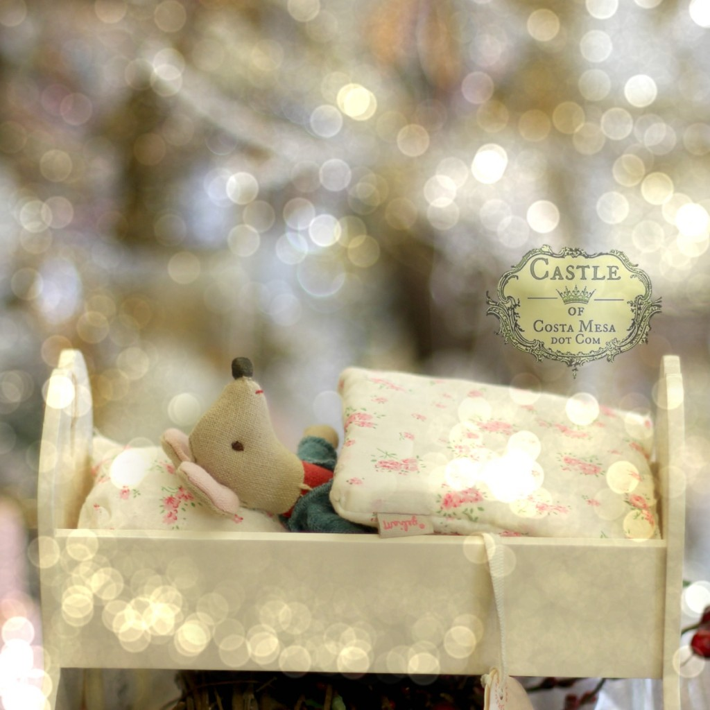 141117 Little mouse in rocking cradle bed Christmas presents at Company of Angels.