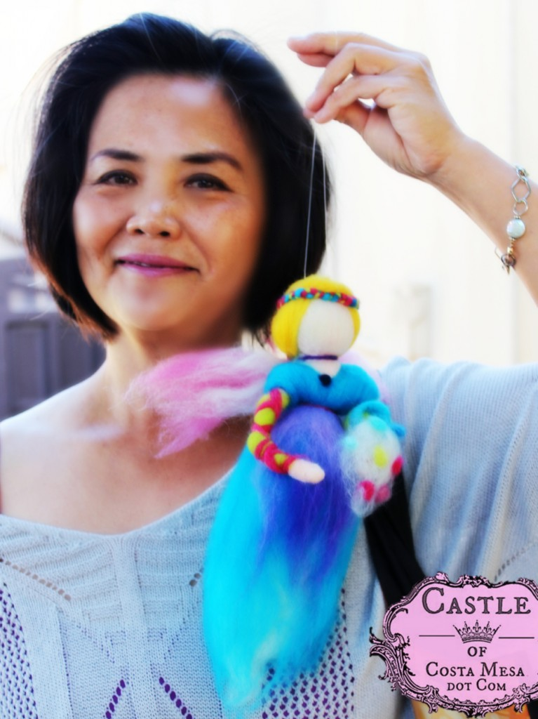 141117 Lucy and her finished pulled wool fairy from craft group.