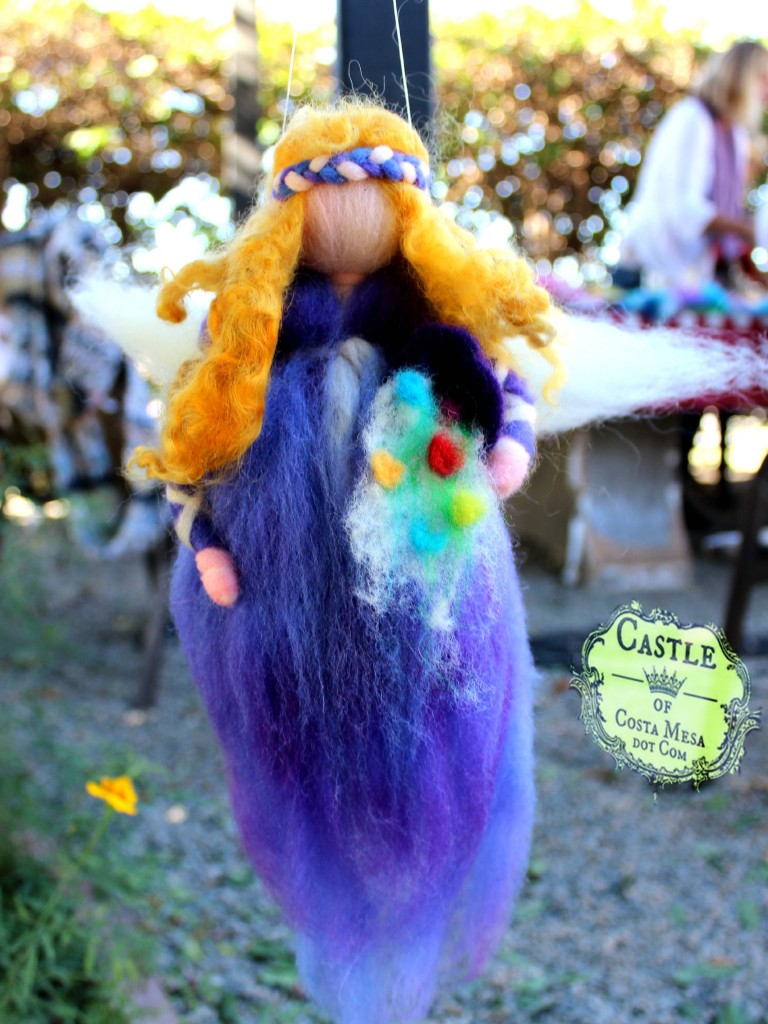 141117 Rachel's finished handmade pulled wool needle-felted spring wool fairy mobile with cornucopia of spring flowers.