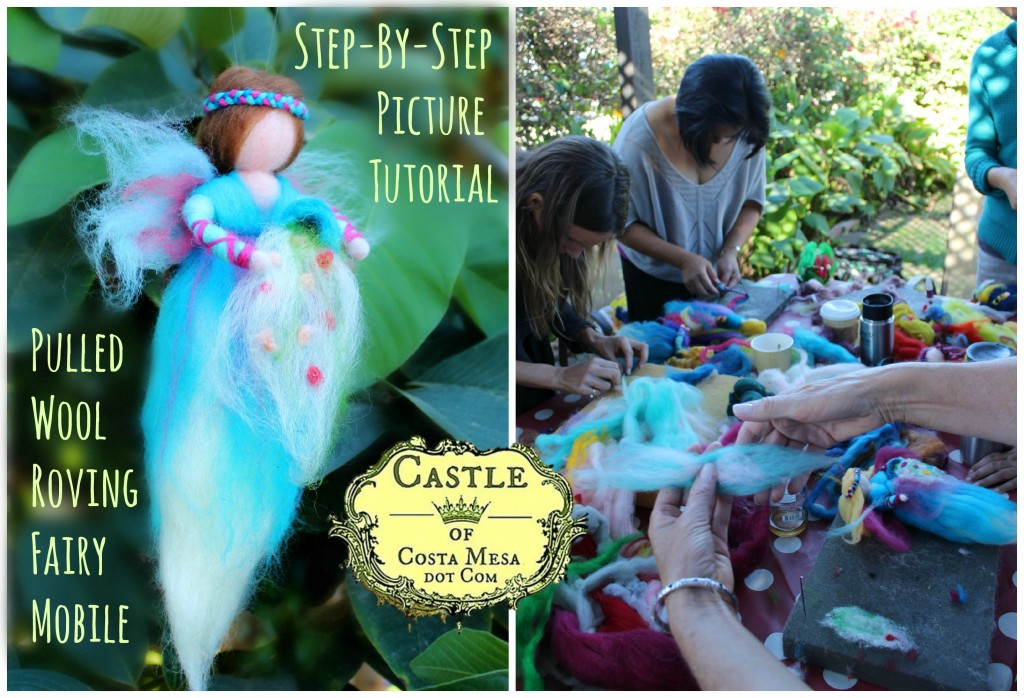 141130 dyptich Step by step picture Tutorial make pulled wool fairy angel CastleofCostamesa.