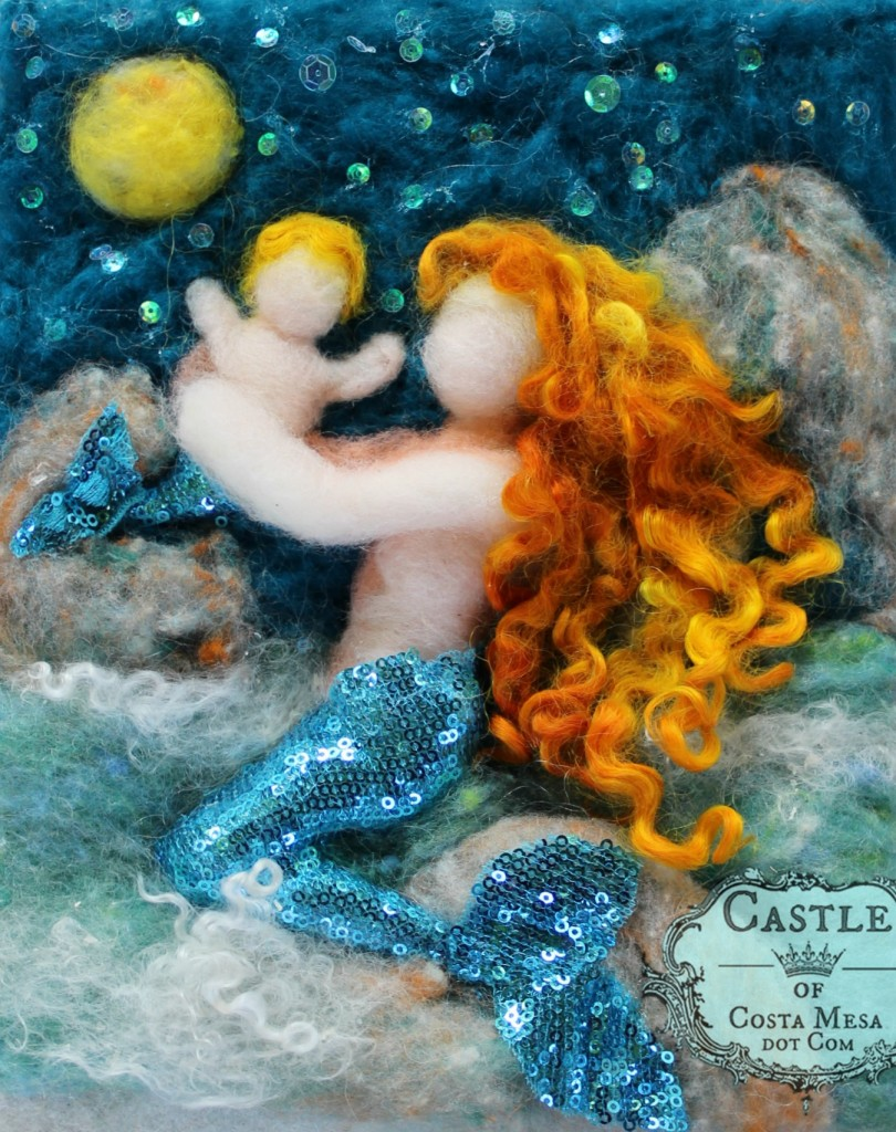 131208 Mermaid mother and baby by Moonlight 8x10 wool picture unframed on prefelt cropped to image logo edge.