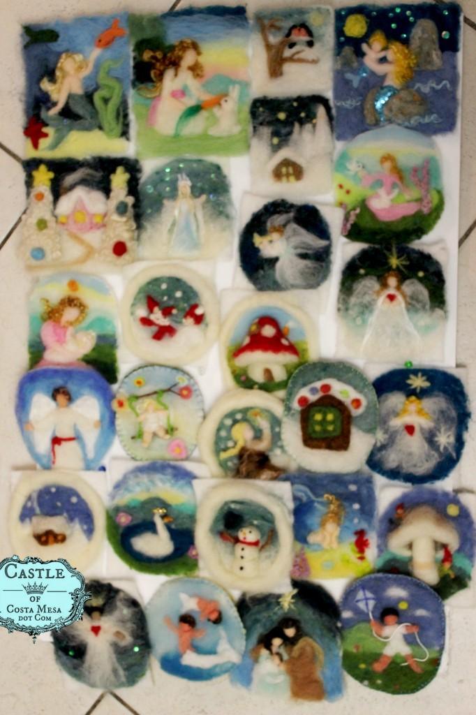 141130 Nunu and Jzin handmade wool picture donation for Elves Workshop 2014 Waldorf School of Orange County.