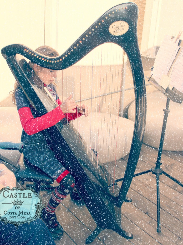 141206 Alyssa playing harp music to calm the shoppers at Elves Workshop with snow.