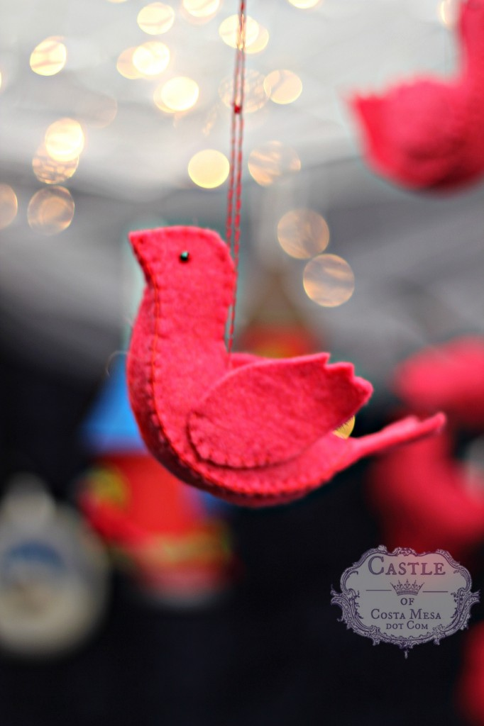 141206 Cathrine's handstitched felted red cardinal bird Christmas tree ornaments on a string.