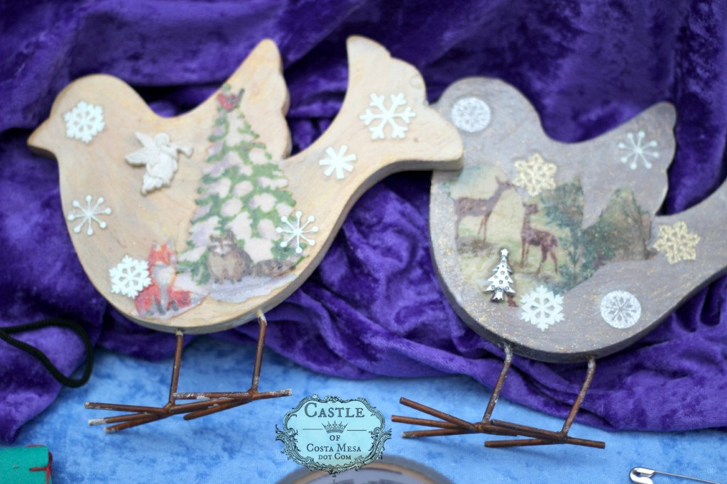 141206 Kathy's wooden decoupage bird Christmas Winter ornaments on metal wire legs.