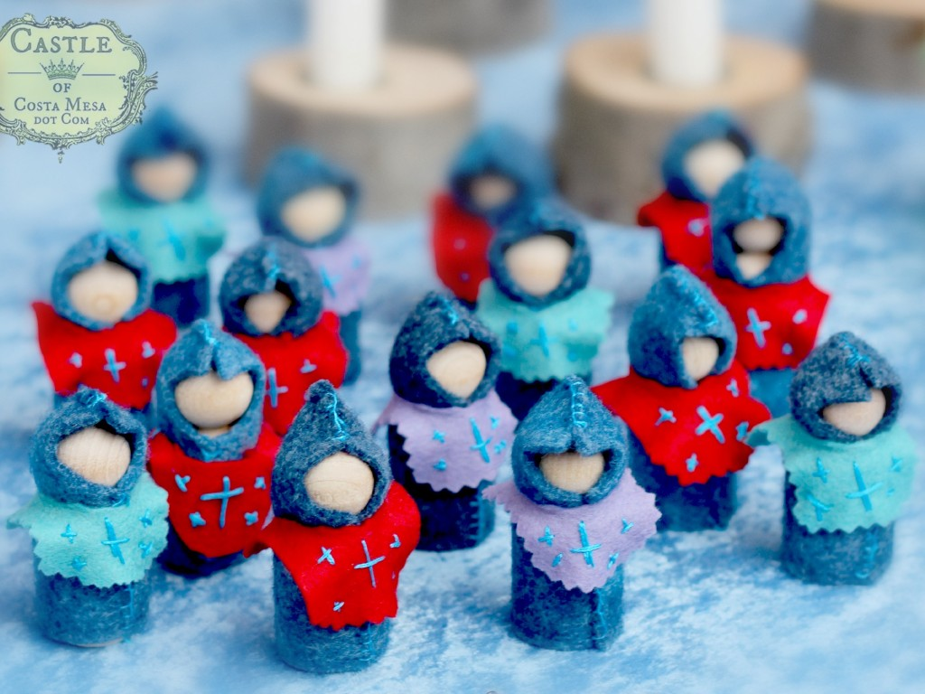 141206 felt handstitched knight wooden peg gnomes handmade for Winter Festival at WSOC.