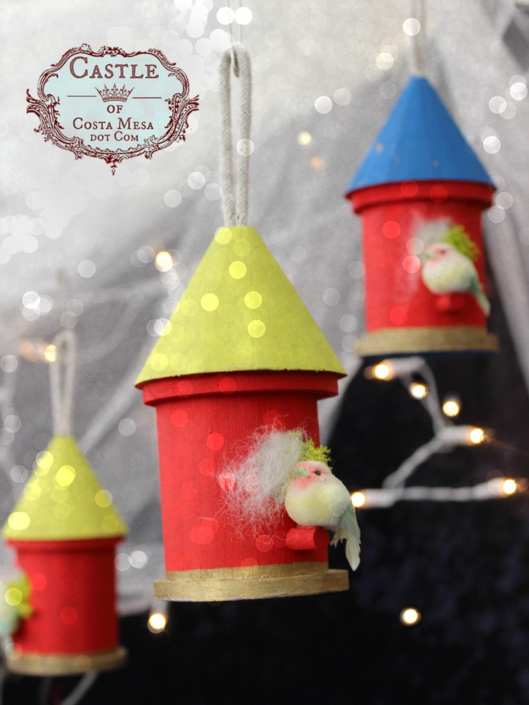 141208 Kathy's painted wooden birdhouses with little birds perched upon mossy nests christmas tree ornaments.