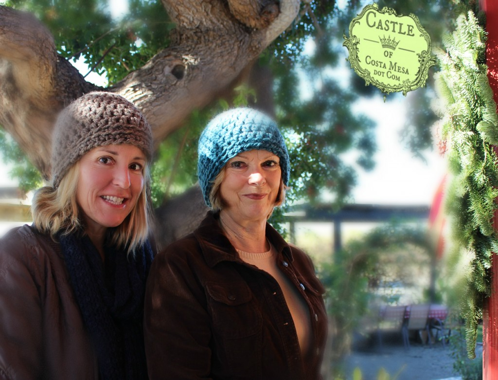 150105 Kathy and Suzanne with their finished 2 hour crochet hats from craft group morning.