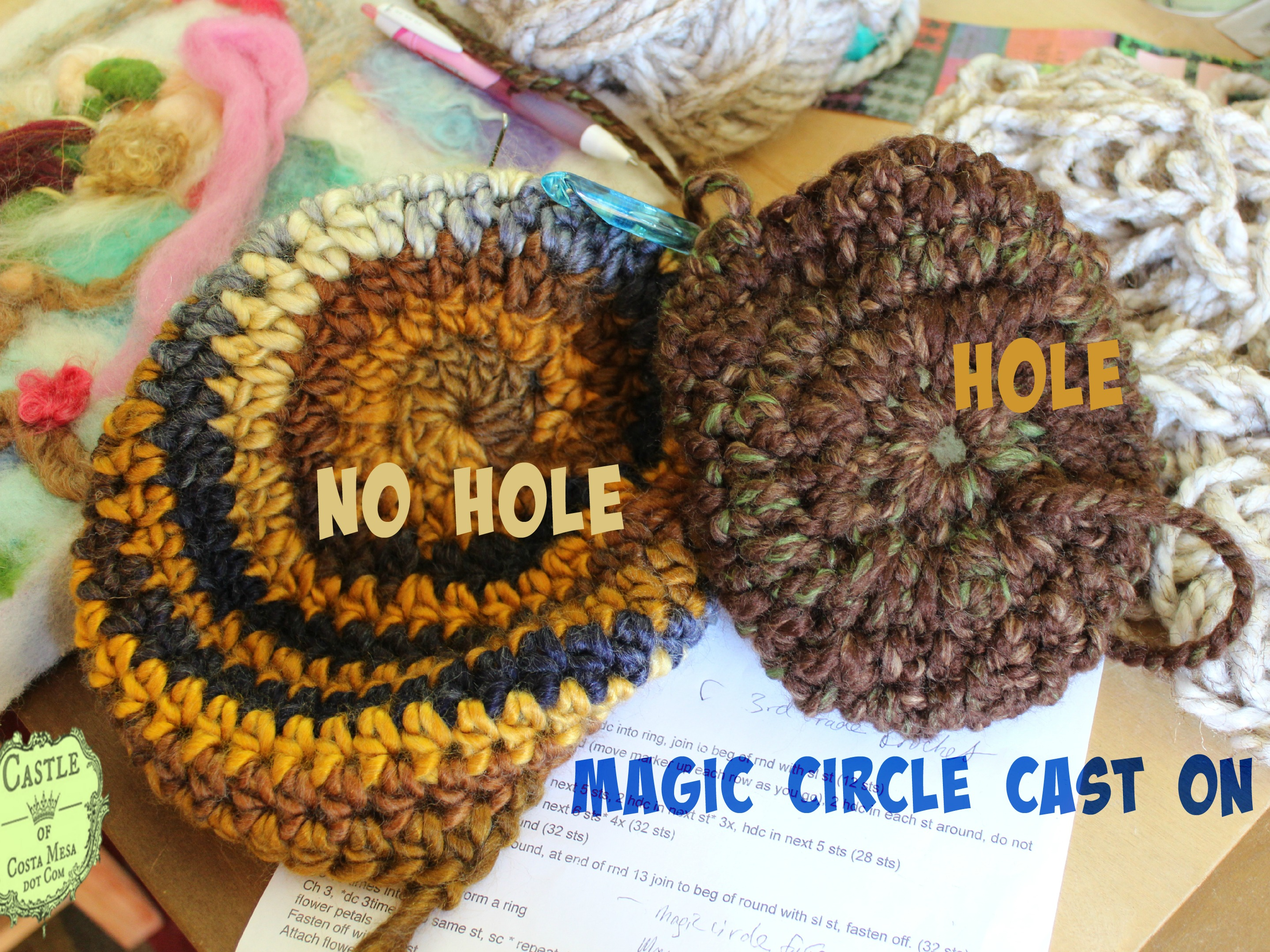 150105 Magic Circle cast on crochet hat does not yield hole on top ...