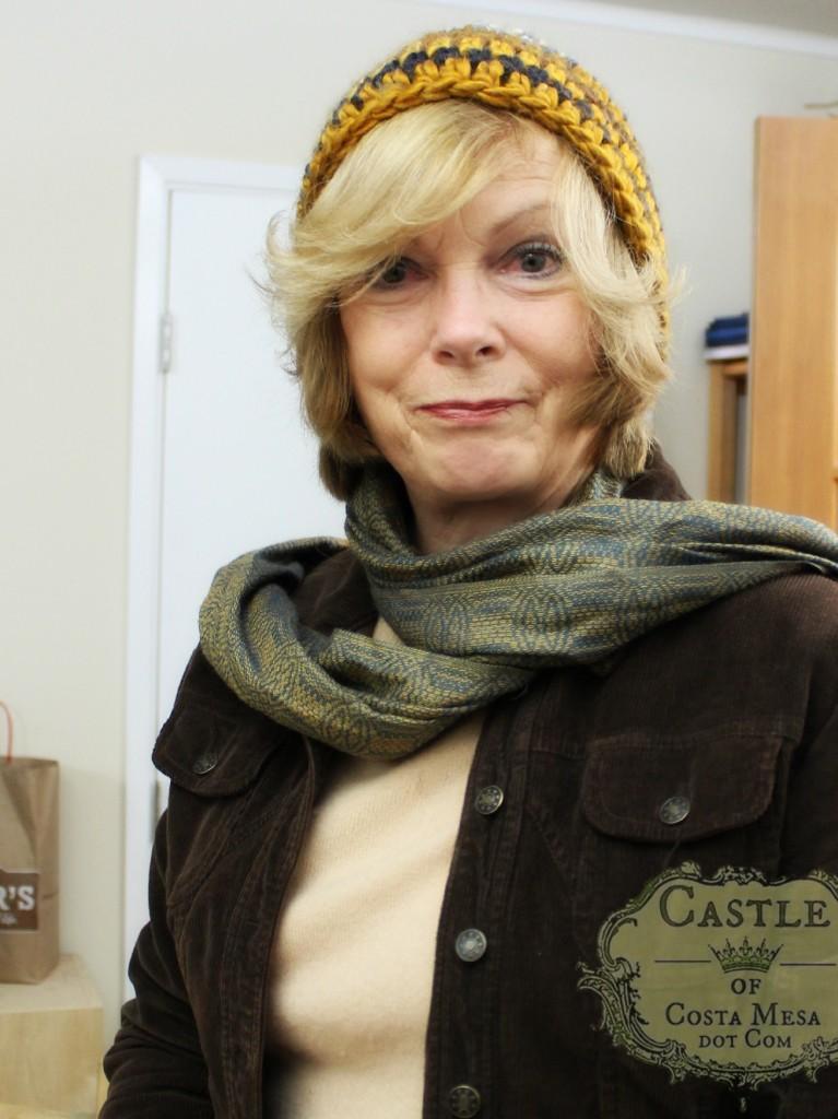 150105 Suzanne modeling Christine's super bulky yarn 2 hour crochet hat. CastleofCostaMesa.com.