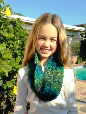 150105 Kathy Christian broomstick lace crochet scarf for her mother