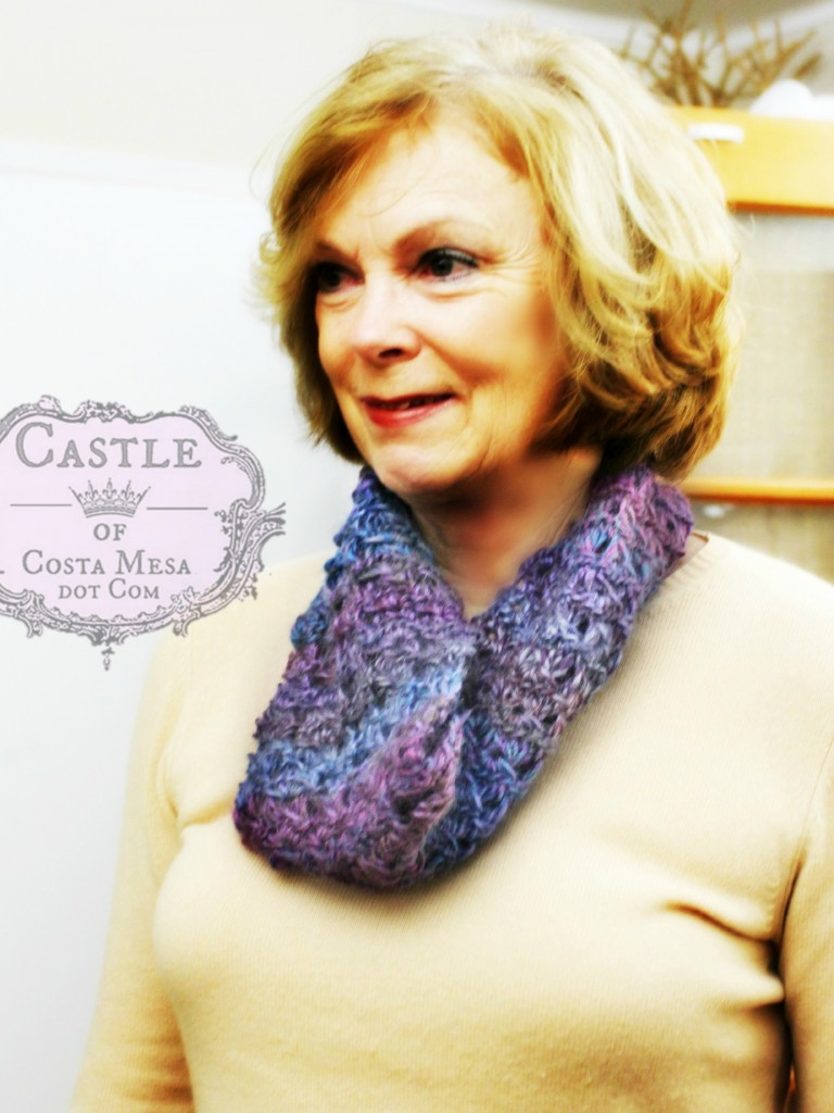 150105 Suzanne and her crocheted broomstick lace cowl.