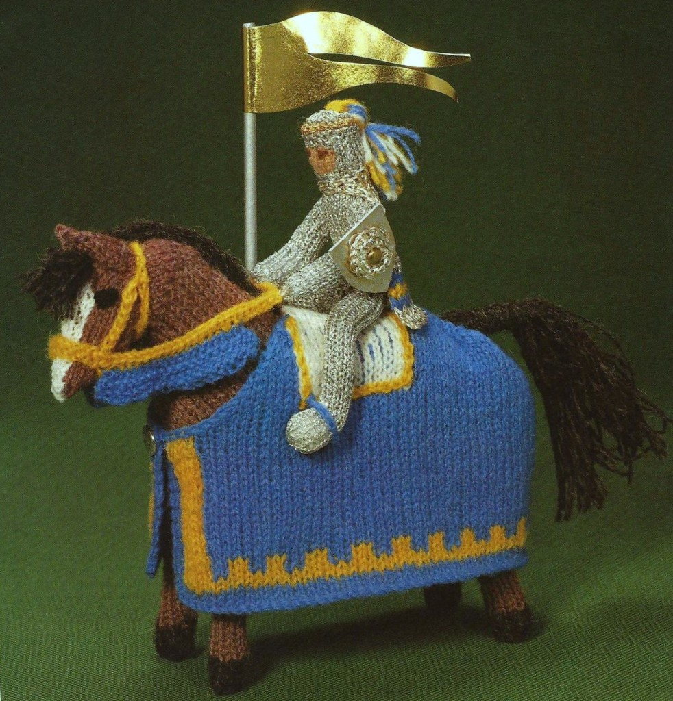 150531 Knit an Enchanted Castle by Jan Messent Knitted Knight on steed horse