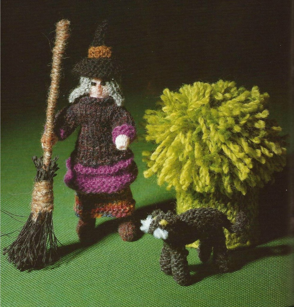 150531 Knit an Enchanted Castle by Jan Messent Knitted witch with broomstick and cat
