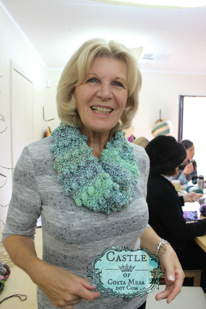151215 Christine Newell and nubby crochet infinity scarf.