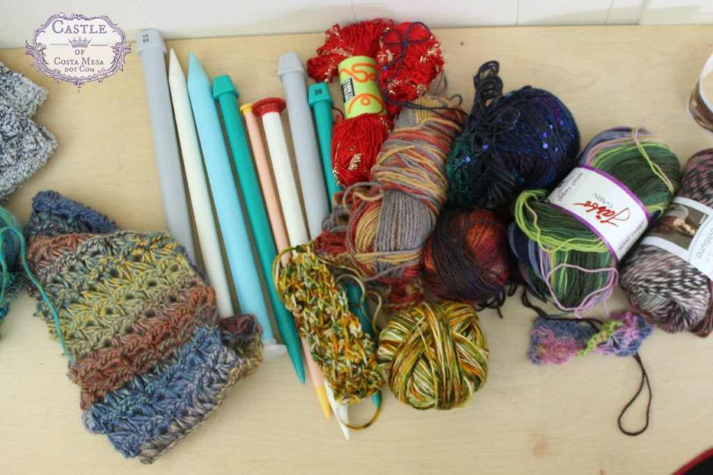 151215 yarn, needles supplies for making broomstick lace crochet.