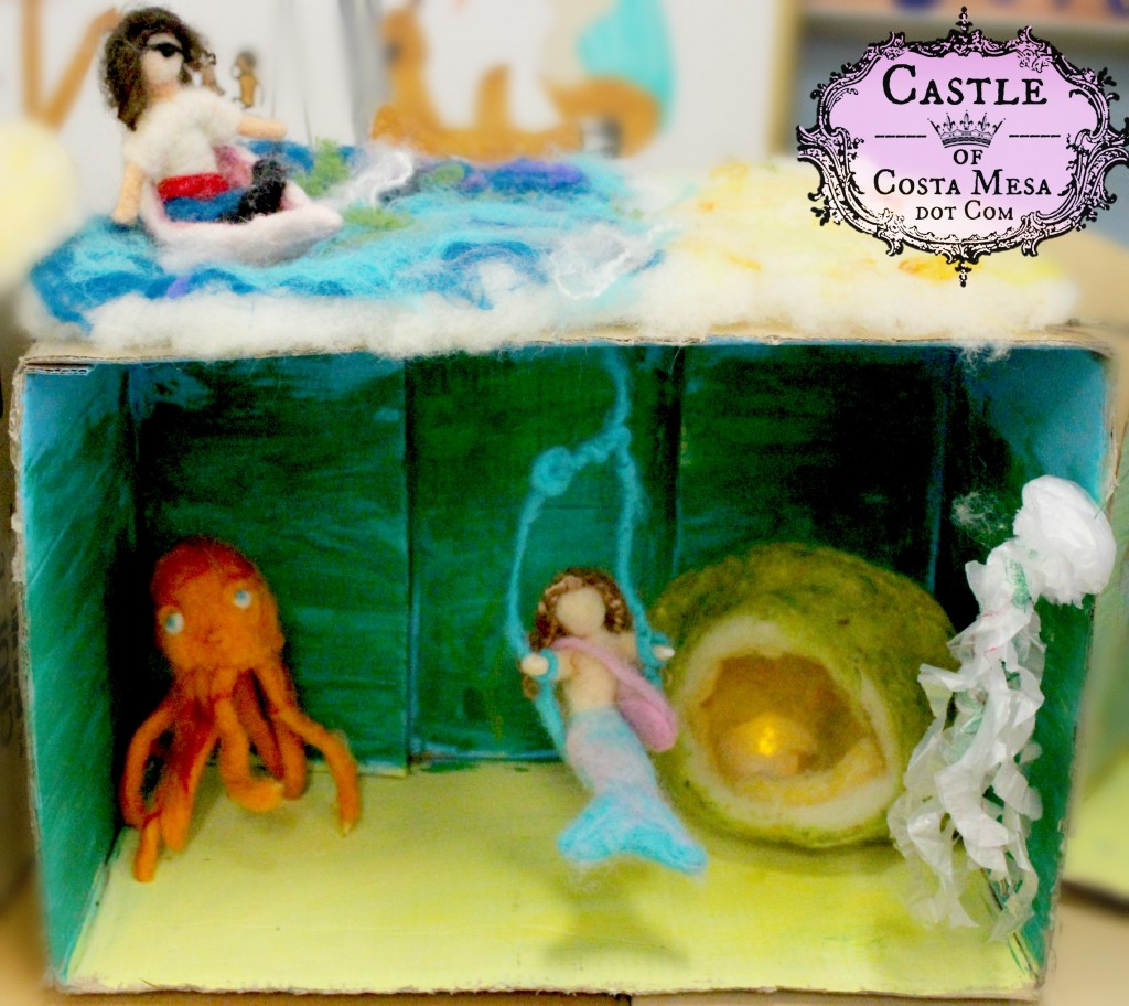 1997 150619 Sophie's mermaid diorama with octopus, pirate on boat, mermaid on swing, cave, jellyfish
