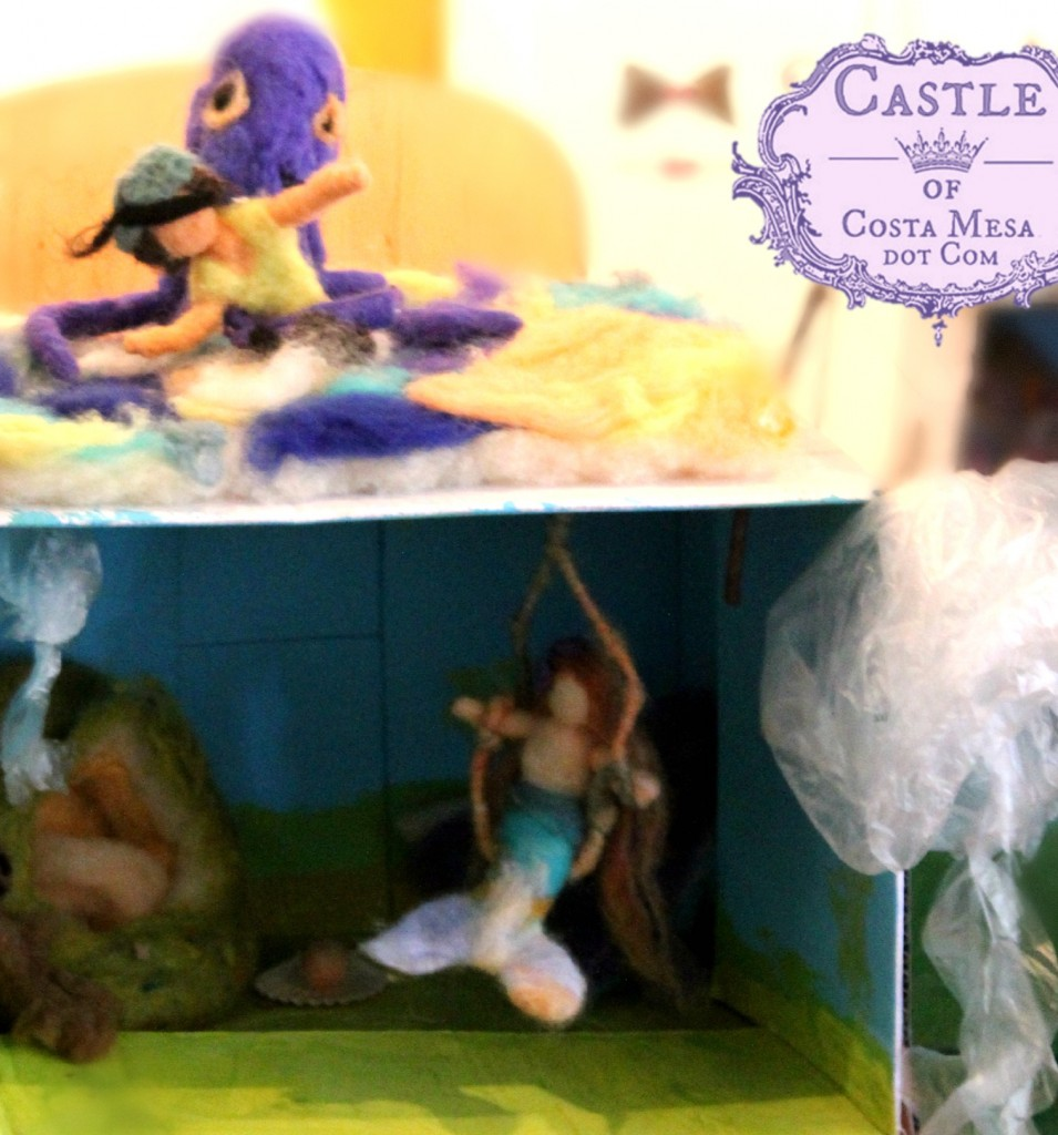 2013 150621 Kaiya's felted mermaid kingdom with pirate, octopus, mermaid on a swing