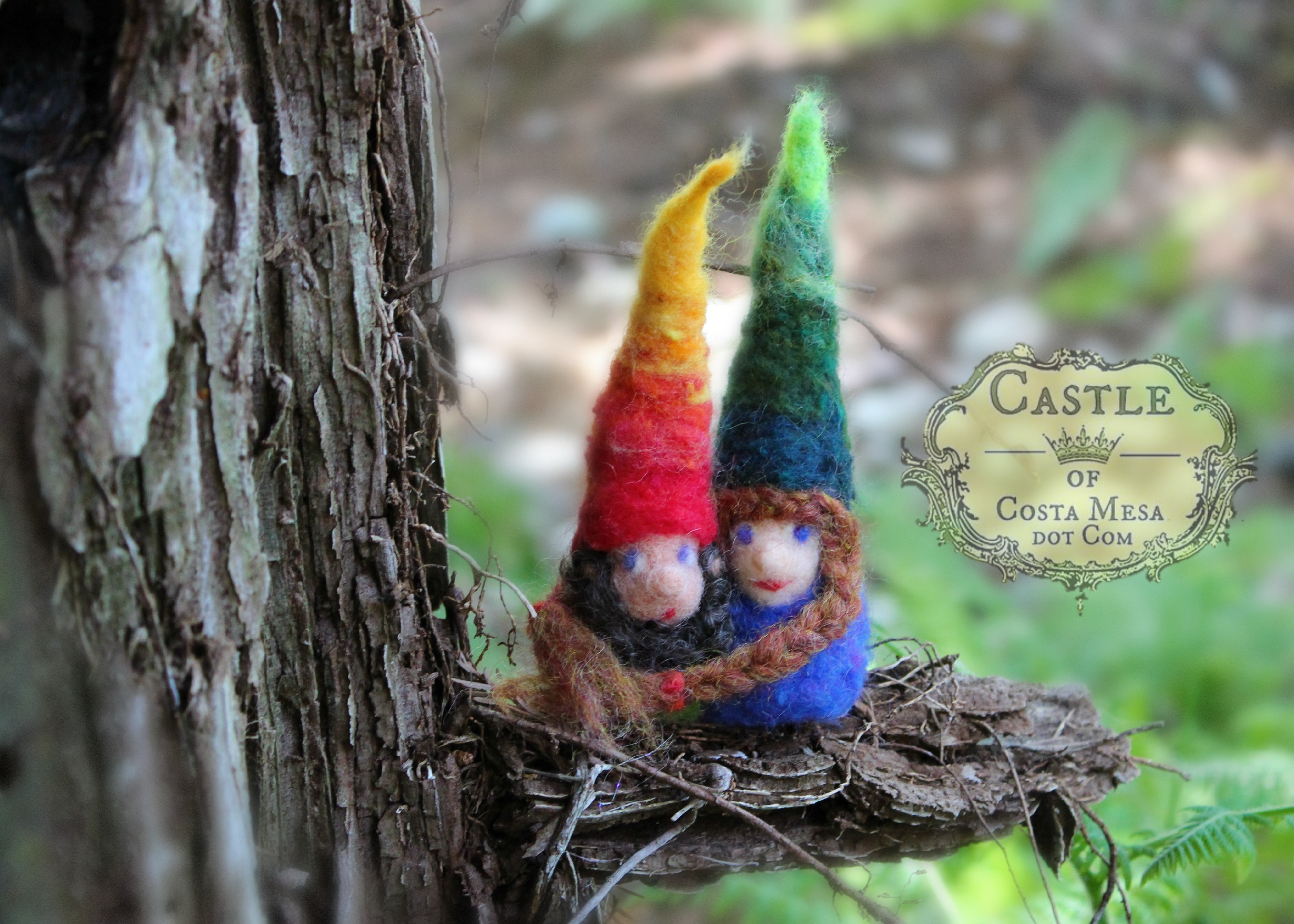 140730 Finger warmer gnomes Eddie and Ruth at ENC on a limb 2