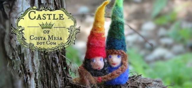 140730 Finger warmer gnomes Eddie and Ruth at ENC on a limb logo