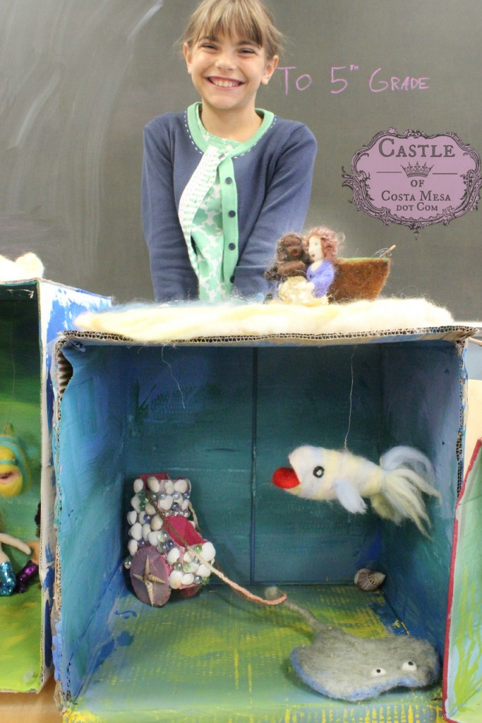 2273 150703 Anicka with needle-felted mermaid, fisherman, boat, diorama, fish, pearl carriage and stingray