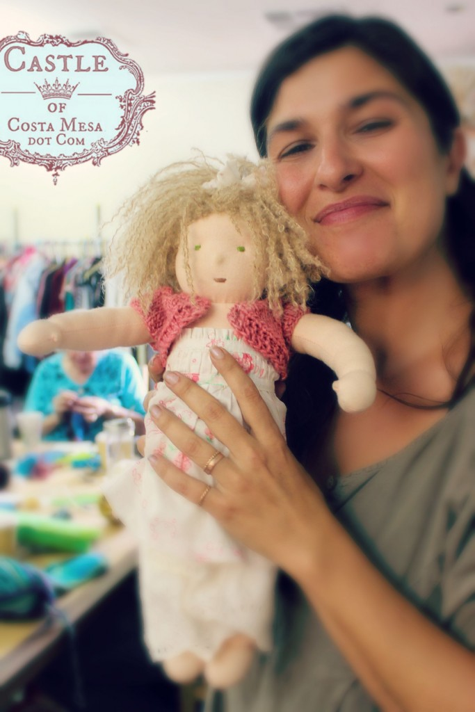 2827 150918 Roxanna and her handmade crimpy blonde haired handmade homemade mommy made Waldorf 16 inch cuddle doll