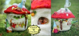 160113 Jzin's Felt Toadstool Cottage Nightlight with Two Finger Pupper Gnomes workshop
