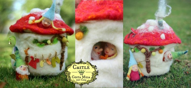 160113 Jzin's Felt Toadstool Cottage Nightlight with Two Finger Pupper Gnomes workshop