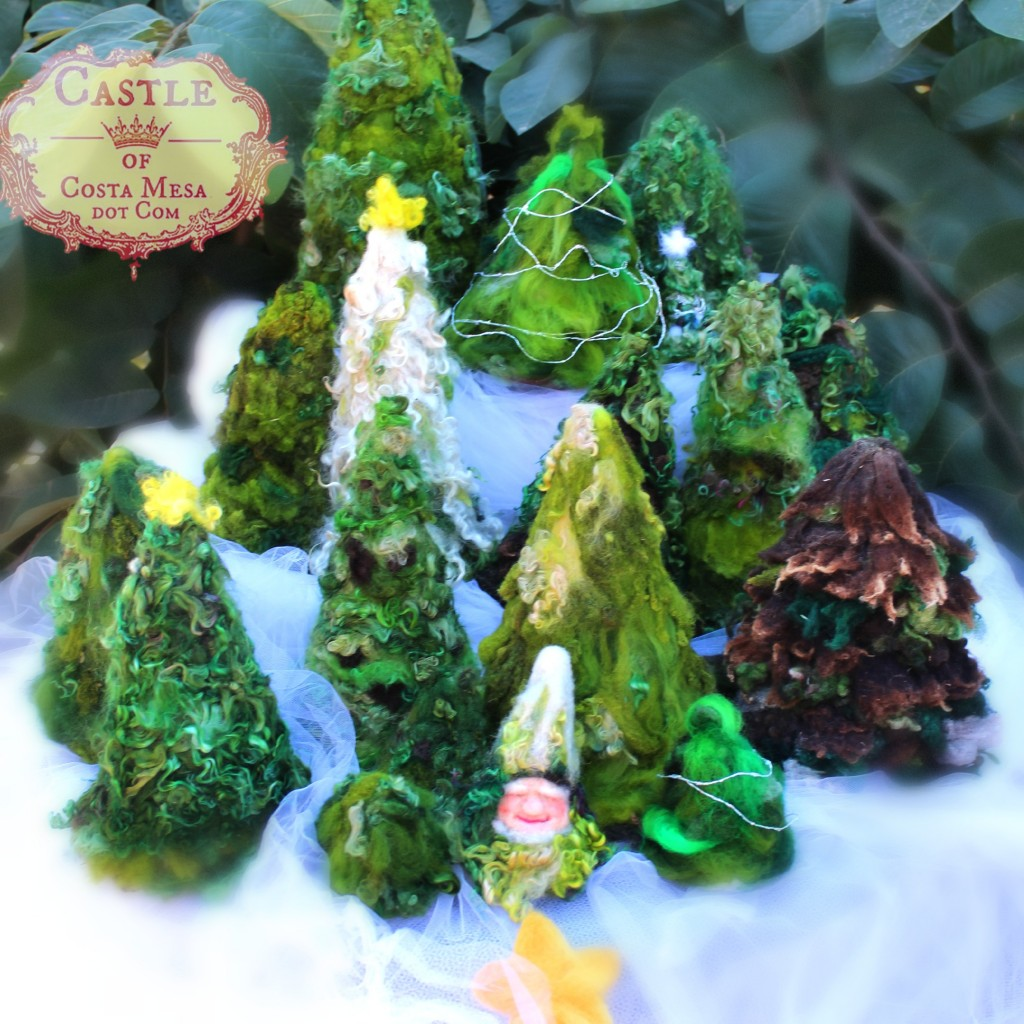 4112 151117 Waldorf School of Orange County Castle of Costa Mesa Craft group needle-felted Christmas trees square